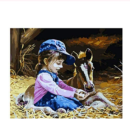 sdfgea TH Horse DIY Painting by Numbers Straw Oil Painting On Canvas Hand Painted Cuadros Decoracion Acrylic Paint Art LS-No Frame-40x50cm
