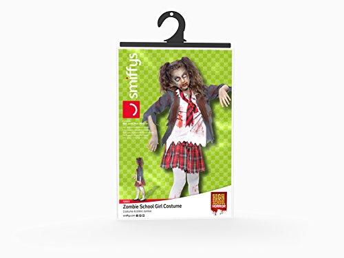 Smiffy's Smiffys-43025L Halloween Disfraz de Colegiala Zombi, con Falda de Cuadros Escoceses, Blazer, Falsa, Color Gris, L-Edad 10-12 años 43025L