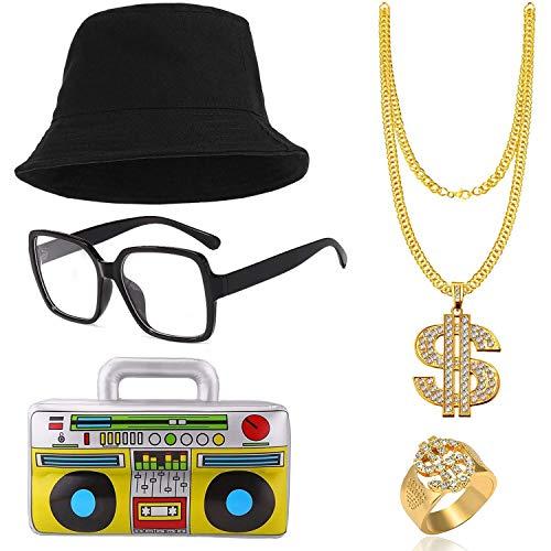 SPECOOL Kit de Disfraces de Hip Hop 90's 80's Rapero Accesorios Sombrero del Cubo Collar de Cadena de Oro con Signo de Dólar Gafas Boom Box Inflable Party Favors Decoración de Fiesta