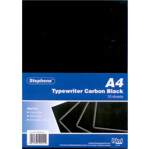 Stephens Typewriter RS520153  - Papel carbón (10 hojas A4), negro