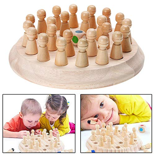 Syfinee Educational Toys, Kids Wooden Memory Match Stick Chess Game Educational Toys Parent-Child Interaction Toy Children's Wooden Intellectual Power Table Games Color Memory Chess