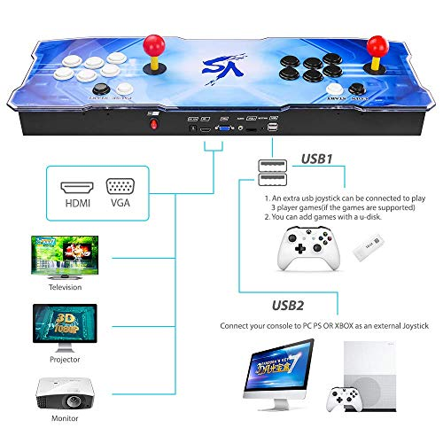 TAPDRA 2413 Classic Arcade Game Console Machine, 4 Players Pandoras Box 7 with 1280x720 Full HD Video Game Console with Joystick Support HDMI VGA Output