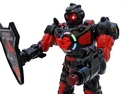 ThinkGizmos Robot programable Grande con Mando a Distancia – Robot de Juguete con Control Remoto – Robots para niños Que disparan misiles Hablan andan y Bailan niños (Negro)