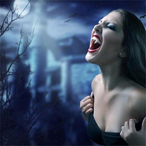 Tinksky White Vampire Teeth Caps Colmillos de hombre lobo para el traje de Halloween Traje halloween horror noches