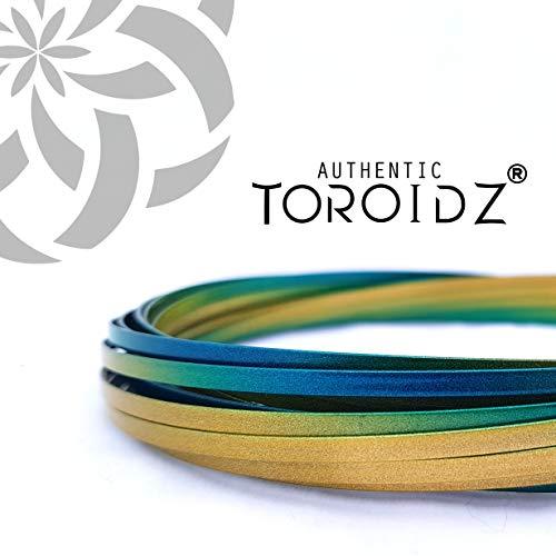 Toroidz ® Flow Ring - Siente el increíble Juguete de Flujo Mágico (+ Bolsa de Viaje) 3D Arm Spring (para el Brazo) Ciencia, Circo - Regalo Interactivo para Todas Las Edades (Oro Azul)