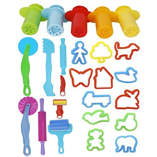 ULTNICE Play Doh Kits 20pcs Herramientas de pasta inteligentes con herramientas de extrusión 5pcs (color al azar)