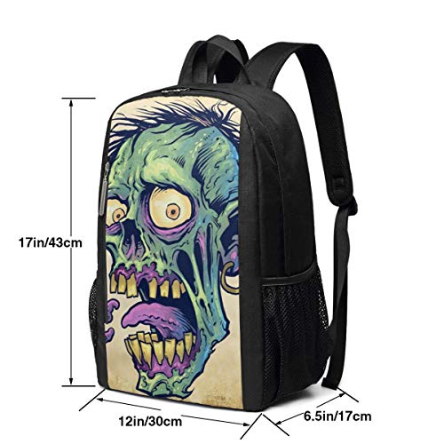 vfrtg Cabeza de Zombie Impresión portátil Personalizada Mochila Informal única Mochila Escolar Mochila de Viaje Regalo